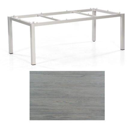 "SonnenPartner Tisch ""Base"", Gestell Aluminium silber, Tischplatte HPL Vintageoptik , 200x100 cm"