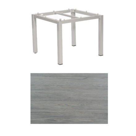 "SonnenPartner Tisch ""Base"", Gestell Aluminium silber, Tischplatte HPL Vintageoptik , 90x90 cm"