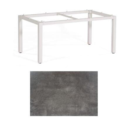 """SonnenPartner Tisch """"Base"""", Gestell Aluminium weiß, Tischplatte HPL Beton dunkel, 160x90 cm"""