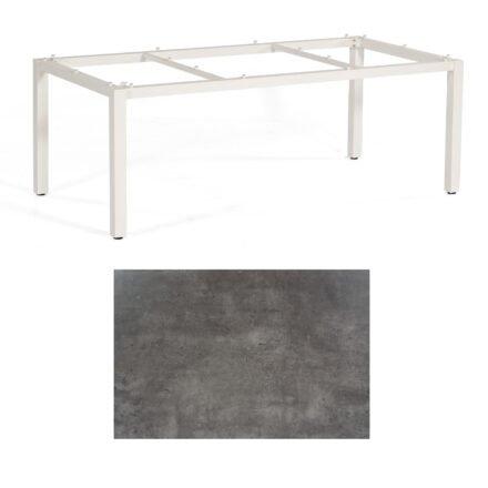"""SonnenPartner Tisch """"Base"""", Gestell Aluminium weiß, Tischplatte HPL Beton dunkel, 200x100 cm"""