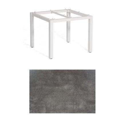 """SonnenPartner Tisch """"Base"""", Gestell Aluminium weiß, Tischplatte HPL Beton dunkel, 90x90 cm"""
