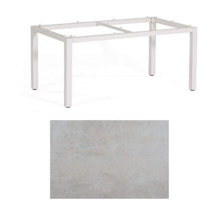 """SonnenPartner Tisch """"Base"""", Gestell Aluminium weiß, Tischplatte HPL Beton hell, 160x90 cm"""