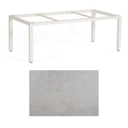 """SonnenPartner Tisch """"Base"""", Gestell Aluminium weiß, Tischplatte HPL Beton hell, 200x100 cm"""