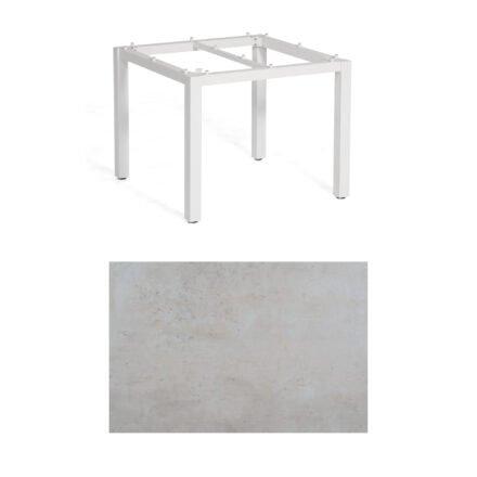 """SonnenPartner Tisch """"Base"""", Gestell Aluminium weiß, Tischplatte HPL Beton hell, 90x90 cm"""
