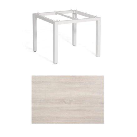 "SonnenPartner Tisch ""Base"", Gestell Aluminium weiß, Tischplatte HPL Eiche sägerau, 90x90 cm"