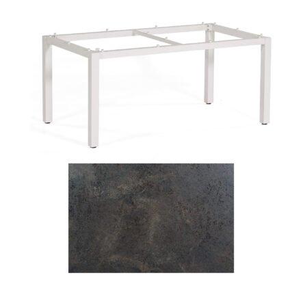 "SonnenPartner Tisch ""Base"", Gestell Aluminium weiß, Tischplatte HPL Keramikoptik, 160x90 cm"