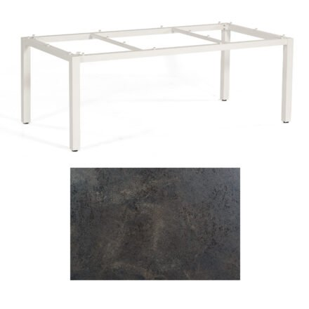 "SonnenPartner Tisch ""Base"", Gestell Aluminium weiß, Tischplatte HPL Keramikoptik, 200x100 cm"