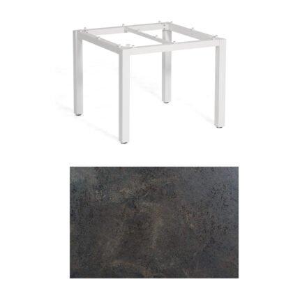 "SonnenPartner Tisch ""Base"", Gestell Aluminium weiß, Tischplatte HPL Keramikoptik, 90x90 cm"