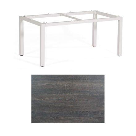 """SonnenPartner Tisch """"Base"""", Gestell Aluminium weiß, Tischplatte HPL Mali wenge, 160x90 cm"""