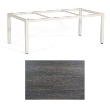 """SonnenPartner Tisch """"Base"""", Gestell Aluminium weiß, Tischplatte HPL Mali wenge, 200x100 cm"""