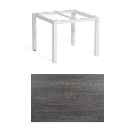 """SonnenPartner Tisch """"Base"""", Gestell Aluminium weiß, Tischplatte HPL Mali wenge, 90x90 cm"""
