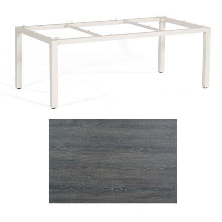 """SonnenPartner Tisch """"Base"""", Gestell Aluminium weiß, Tischplatte HPL Pinie dunkel, 200x100 cm"""