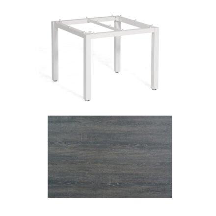 """SonnenPartner Tisch """"Base"""", Gestell Aluminium weiß, Tischplatte HPL Pinie dunkel, 90x90 cm"""