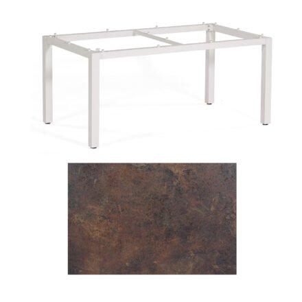 """SonnenPartner Tisch """"Base"""", Gestell Aluminium weiß, Tischplatte HPL Rostoptik, 160x90 cm"""