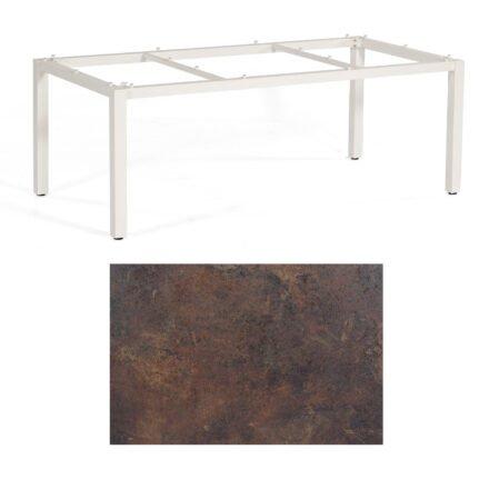 """SonnenPartner Tisch """"Base"""", Gestell Aluminium weiß, Tischplatte HPL Rostoptik, 200x100 cm"""