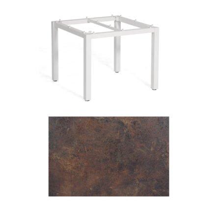 """SonnenPartner Tisch """"Base"""", Gestell Aluminium weiß, Tischplatte HPL Rostoptik, 90x90 cm"""