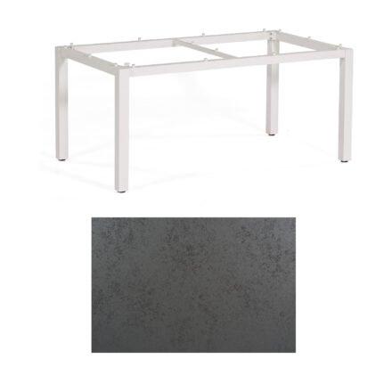 """SonnenPartner Tisch """"Base"""", Gestell Aluminium weiß, Tischplatte HPL Struktura anthrazit, 160x90 cm"""