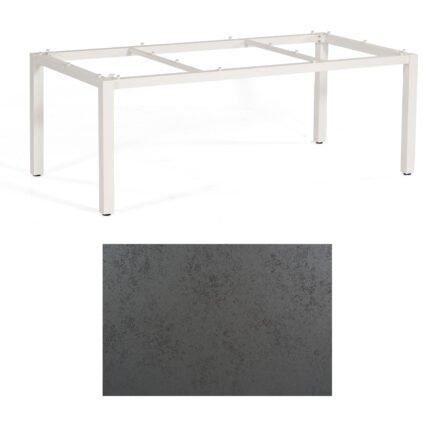 """SonnenPartner Tisch """"Base"""", Gestell Aluminium weiß, Tischplatte HPL Struktura anthrazit, 200x100 cm"""