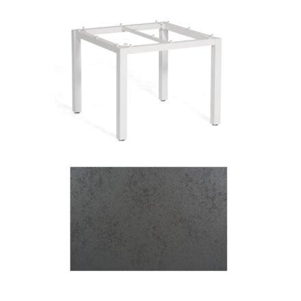 """SonnenPartner Tisch """"Base"""", Gestell Aluminium weiß, Tischplatte HPL Struktura anthrazit, 90x90 cm"""