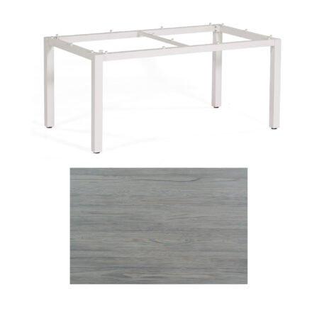 """SonnenPartner Tisch """"Base"""", Gestell Aluminium weiß, Tischplatte HPL Vintageoptik, 160x90 cm"""