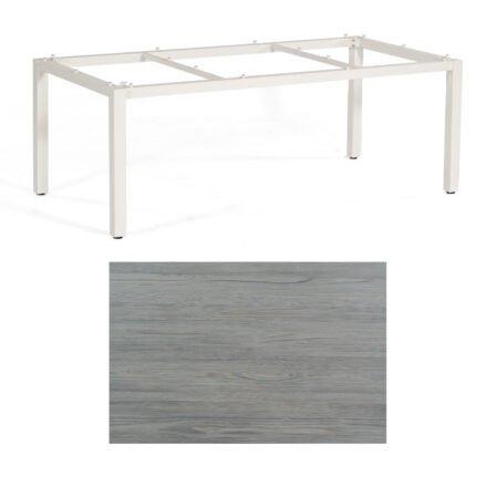 """SonnenPartner Tisch """"Base"""", Gestell Aluminium weiß, Tischplatte HPL Vintageoptik, 200x100 cm"""