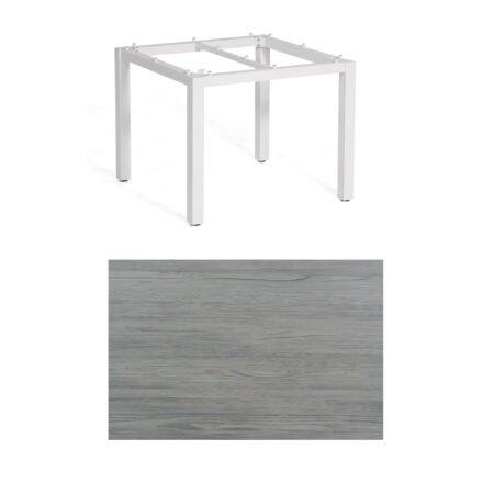 """SonnenPartner Tisch """"Base"""", Gestell Aluminium weiß, Tischplatte HPL Vintageoptik, 90x90 cm"""
