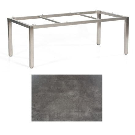 """SonnenPartner Tisch """"Base"""", Gestell Edelstahl, Tischplatte HPL Beton dunkel, 200x100 cm"""
