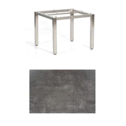 """SonnenPartner Tisch """"Base"""", Gestell Edelstahl, Tischplatte HPL Beton dunkel, 90x90 cm"""