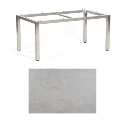 "SonnenPartner Tisch ""Base"", Gestell Edelstahl, Tischplatte HPL Beton hell, 160x90 cm"