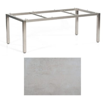 "SonnenPartner Tisch ""Base"", Gestell Edelstahl, Tischplatte HPL Beton hell, 200x100 cm"