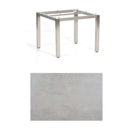 "SonnenPartner Tisch ""Base"", Gestell Edelstahl, Tischplatte HPL Beton hell, 90x90 cm"