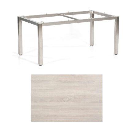 "SonnenPartner Tisch ""Base"", Gestell Edelstahl, Tischplatte HPL Eiche sägerau, 160x90 cm"