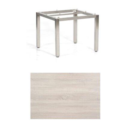 "SonnenPartner Tisch ""Base"", Gestell Edelstahl, Tischplatte HPL Eiche sägerau, 90x90 cm"