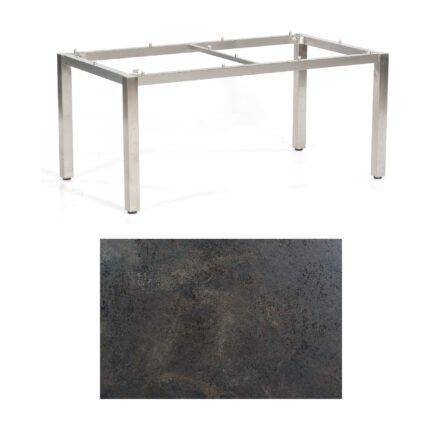 "SonnenPartner Tisch ""Base"", Gestell Edelstahl, Tischplatte HPL Keramikoptik, 160x90 cm"