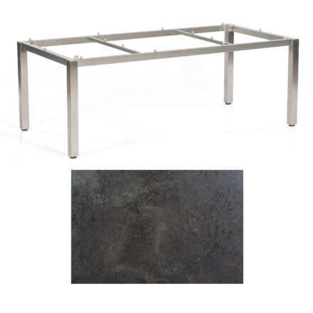 "SonnenPartner Tisch ""Base"", Gestell Edelstahl, Tischplatte HPL Keramikoptik, 200x100 cm"