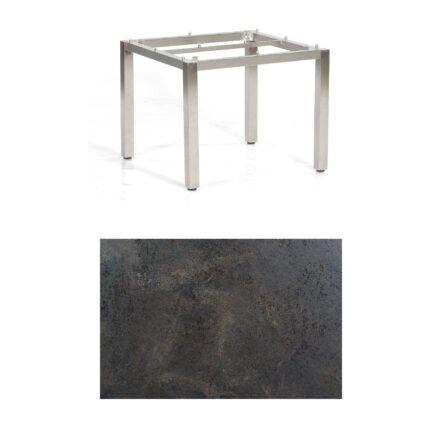 "SonnenPartner Tisch ""Base"", Gestell Edelstahl, Tischplatte HPL Keramikoptik, 90x90 cm"