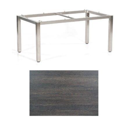 """SonnenPartner Tisch """"Base"""", Gestell Edelstahl, Tischplatte HPL Mali wenge, 160x90 cm"""