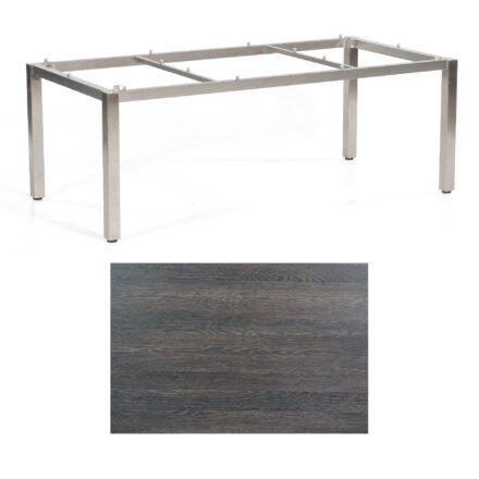 """SonnenPartner Tisch """"Base"""", Gestell Edelstahl, Tischplatte HPL Mali wenge, 200x100 cm"""