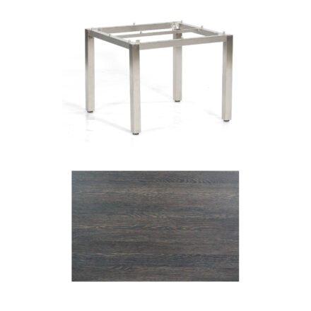 """SonnenPartner Tisch """"Base"""", Gestell Edelstahl, Tischplatte HPL Mali wenge, 90x90 cm"""