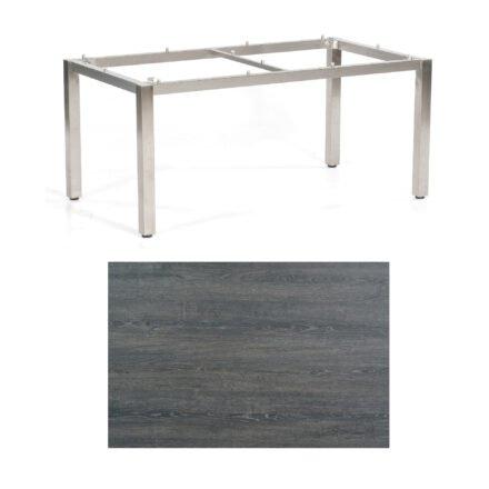 """SonnenPartner Tisch """"Base"""", Gestell Edelstahl, Tischplatte HPL Pinie dunkel, 160x90 cm"""