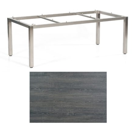 """SonnenPartner Tisch """"Base"""", Gestell Edelstahl, Tischplatte HPL Pinie dunkel, 200x100 cm"""