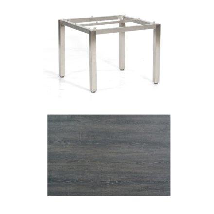 """SonnenPartner Tisch """"Base"""", Gestell Edelstahl, Tischplatte HPL Pinie dunkel, 90x90 cm"""