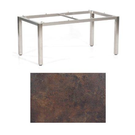 """SonnenPartner Tisch """"Base"""", Gestell Edelstahl, Tischplatte HPL Rostoptik, 160x90 cm"""