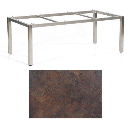 """SonnenPartner Tisch """"Base"""", Gestell Edelstahl, Tischplatte HPL Rostoptik, 200x100 cm"""