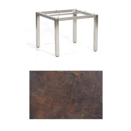 """SonnenPartner Tisch """"Base"""", Gestell Edelstahl, Tischplatte HPL Rostoptik, 90x90 cm"""