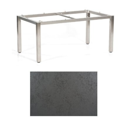 "SonnenPartner Tisch ""Base"", Gestell Edelstahl, Tischplatte HPL Struktura anthrazit, 160x90 cm"