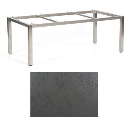 "SonnenPartner Tisch ""Base"", Gestell Edelstahl, Tischplatte HPL Struktura anthrazit, 200x100 cm"