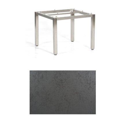 "SonnenPartner Tisch ""Base"", Gestell Edelstahl, Tischplatte HPL Struktura anthrazit, 90x90 cm"