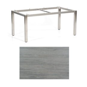 "SonnenPartner Tisch ""Base"", Gestell Edelstahl, Tischplatte HPL Vintageoptik, 160x90 cm"