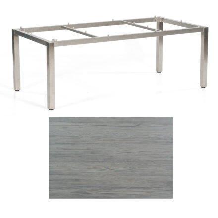 "SonnenPartner Tisch ""Base"", Gestell Edelstahl, Tischplatte HPL Vintageoptik, 200x100 cm"